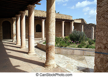 Inner yard of old roman villa in Carthage, Tunisia...