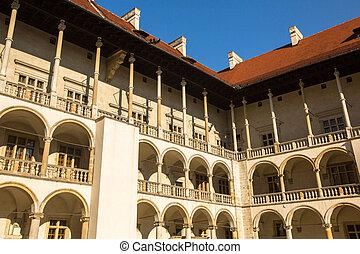 Inner yard of royal palace in Wawel, Krakow, Poland.