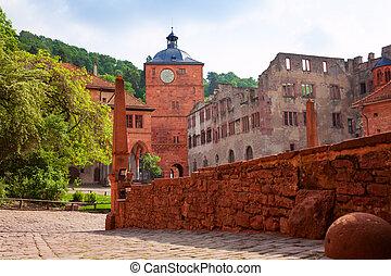 Inner yard of Schloss Heidelberg during summer