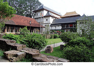 Inner yard of Tooth temple in Kandy, Sri Lanka