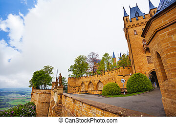 Inner yard view of Hohenzollern castle in summer