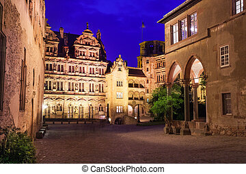 Inner yard view of Schloss Heidelberg at night