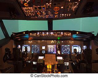 innerhalb, selbstgemacht, flugsimulator, cockpit
