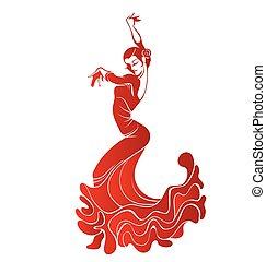 innige, vrouw, flamenco, jonge, dancing