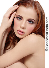 Innocence - Beautiful young fresh girl with long red hair...