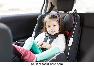 Innocent Child Sitting On Backseat Of Car