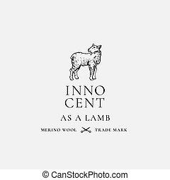 innocent, emblem., résumé, vecteur, sillhouette, agneau, retro, typography., symbole, logo, merino, main, luxe, signe, template., laine, ou, vendange, dessiné, lamb.