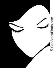 Innocent and shy girl digital illustration. Black & White.