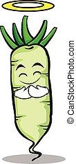 Innocent white radish cartoon character