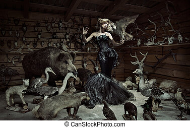 Innocent woman among wild animals
