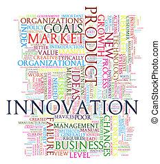 innovación, etiquetas, palabra