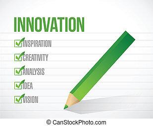 innovación, marca de verificación, lista, ilustración,...