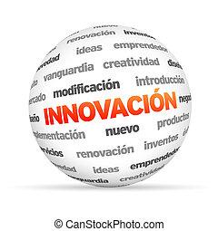 innovación, palabra, esfera, (in, spanish)