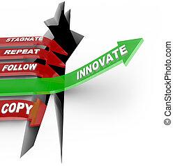 innovación, y, cambio, golpes, estancamiento, flecha,...