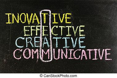 innovador, dibujo, tiza, -, team:, creativo