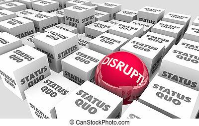 innovare, sfera, cubi, evolvere, rompere, status, cambiamento, quo, illustrazione, 3d