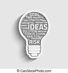 Innovate bulb - Business concept bulb made with words. ...