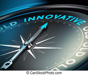 Innovate Business Concept - Compass needle pointing the word...