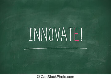 Innovate handwritten on blackboard