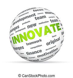 Innovate Sphere - Sphere with the word innovate on white...