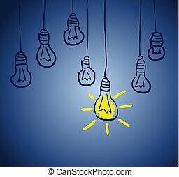 innovateur, lamp., idée, concept