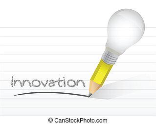 innovatie, met de hand geschreven, met, een, lightbulb, potlood