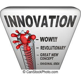 innovatie, niveau, afgemeten, op, thermometer, -, nieuw,...