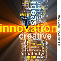 innovatie, woord, wolk, gloeiend