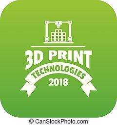 Innovation 3d printing icon green vector