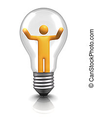 Innovation - 3d stick figure inside of light bulb