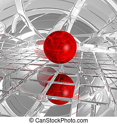 abstract futuristic background with red ball - 3d illustration