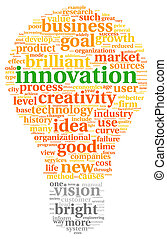 Innovation and technology concept related words in tag cloud inside bulb shape