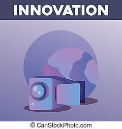 innovation and technology design with videocamera over...
