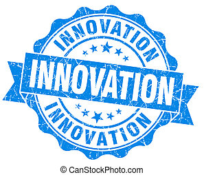 Innovation blue grunge vintage seal