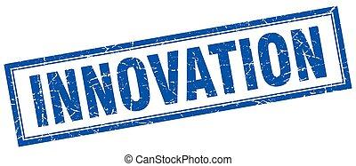 innovation blue square grunge stamp on white