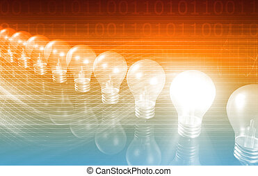Innovation Business Concept with Lightbulb Idea as Art
