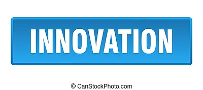 innovation button. innovation square blue push button