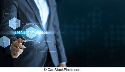 Innovation concept, businessman holding magnifying glass and search word business on interface screen