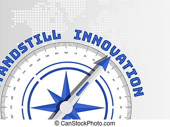 Innovation concept with compass pointing towards text