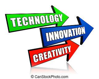 innovation, créativité, flèches, technologie