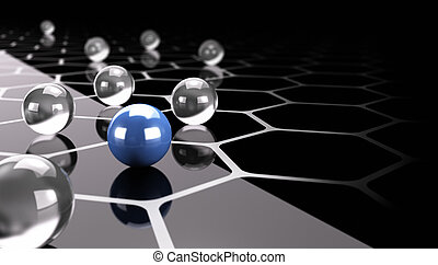 Abstract background, innovation or difference concept consisting of glass balls plus a blue one and honeycomb shaped design over black background