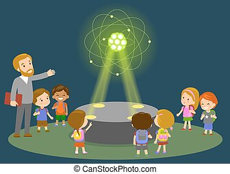 Innovation education elementary school learning technology and people concept - group of kids looking to carbon atom hologram on physics lesson future museum center