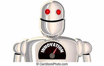 Innovation Gauge Level Innovate New Ideas Robot 3d Illustration