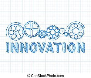 Innovation Graph Paper - Innovation text with gear wheels...
