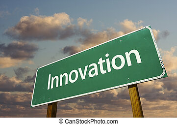 Innovation Green Road Sign with dramatic blue sky and...