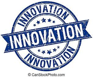 innovation grunge retro blue isolated ribbon stamp