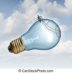 Innovation guidance business concept and creative inspiration with strategic leadership imagination of new ideas as a businessman guiding a giant light bulb using a harness to pilot innovative inventions to success.
