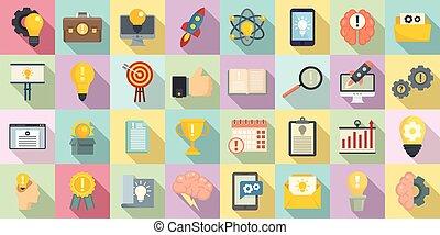 Innovation icons set, flat style