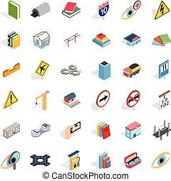 Innovation icons set, isometric style