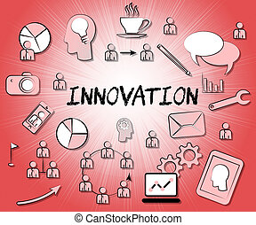 Innovation Icons Shows Reorganization Transformation And...
